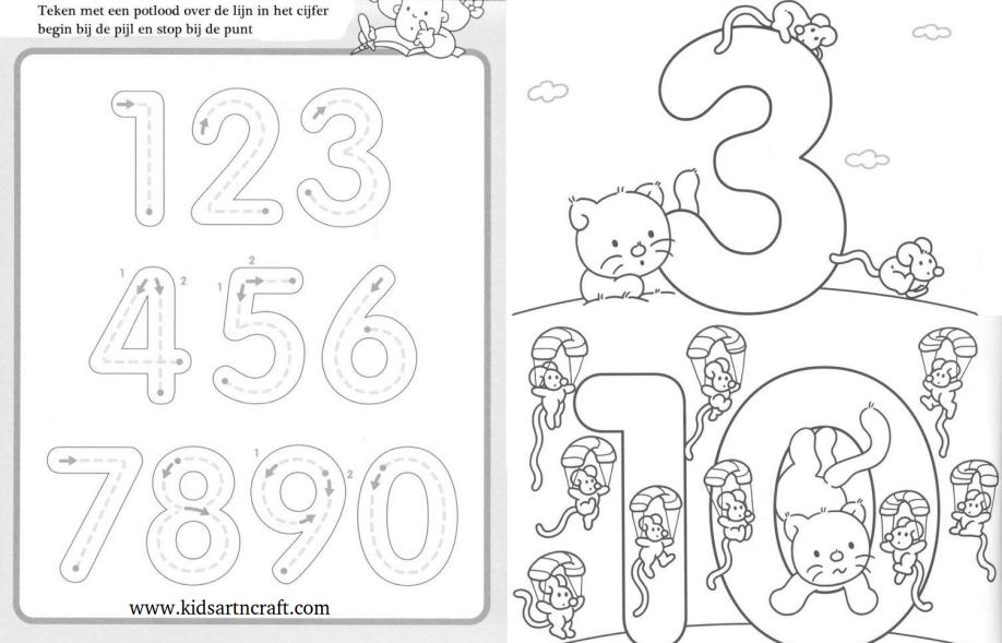 1-10 Writing Numbers Worksheets For Preschool And Kindergarten - Kids Art &  Craft