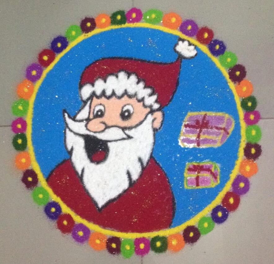 Santa Claus Rangoli For Christmas