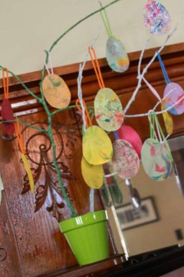 Eggs Made From Shaving Cream For Easter Tree