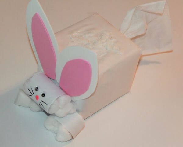 Tissue Box Easter Bunny - Spring Recycled Crafts for Kids