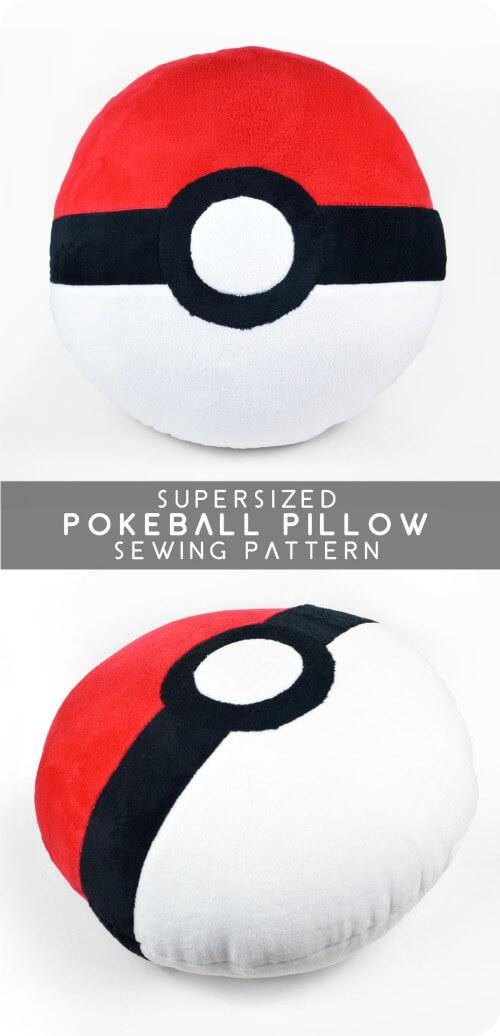 DIY Supersized Pokeball Pillow