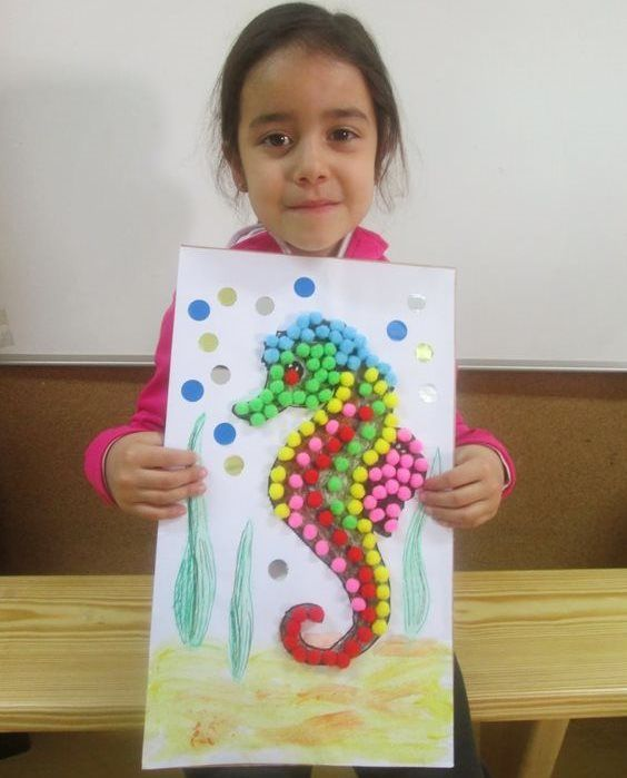 Crumpled Paper Crafts for Kids Sea you, Sea Horse