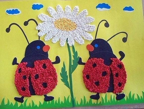 Crumpled Paper Crafts for Kids Beetles With A Flower