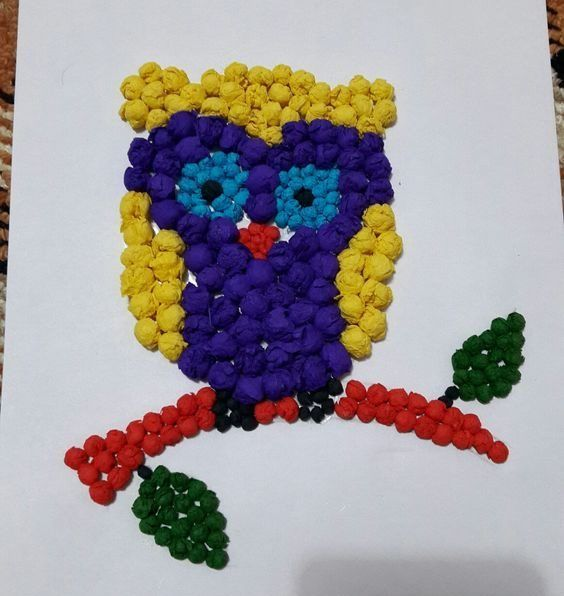 Crumpled Paper Crafts for Kids Owl See You Later