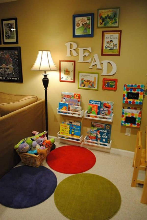 DIY Reading Corner Ideas for Kids A wall Adorned With Bookshelves: R.E.A.D