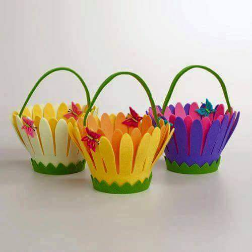 DIY Felt Fabric Multipurpose Craft Pretty Felt Baskets