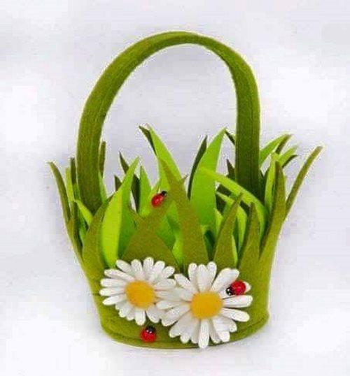 Pretty Floral Felt Basket