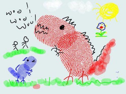 Dino - Easy Fingerprint Drawing Ideas For Kids