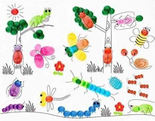 DIY Fingerprint Art Garden - Fun & Easy Fingerprint Drawing Ideas for Kids