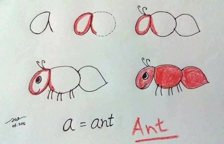 Alphabet Drawing for Kids - Step by Step Image Tutorials The First Ants