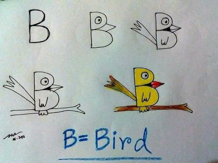 Alphabet Drawing for Kids - Step by Step Image Tutorials Chirping Of A Bird