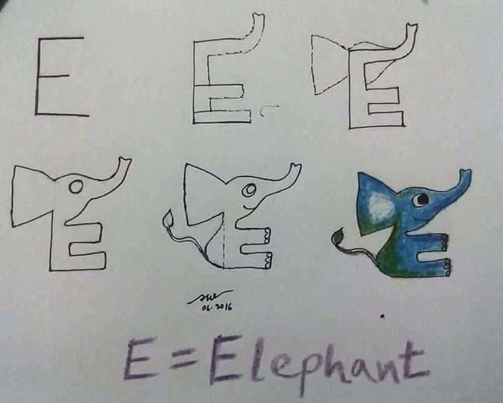 Alphabet Drawing for Kids - Step by Step Image Tutorials The Scary Dino And Fat Elephant