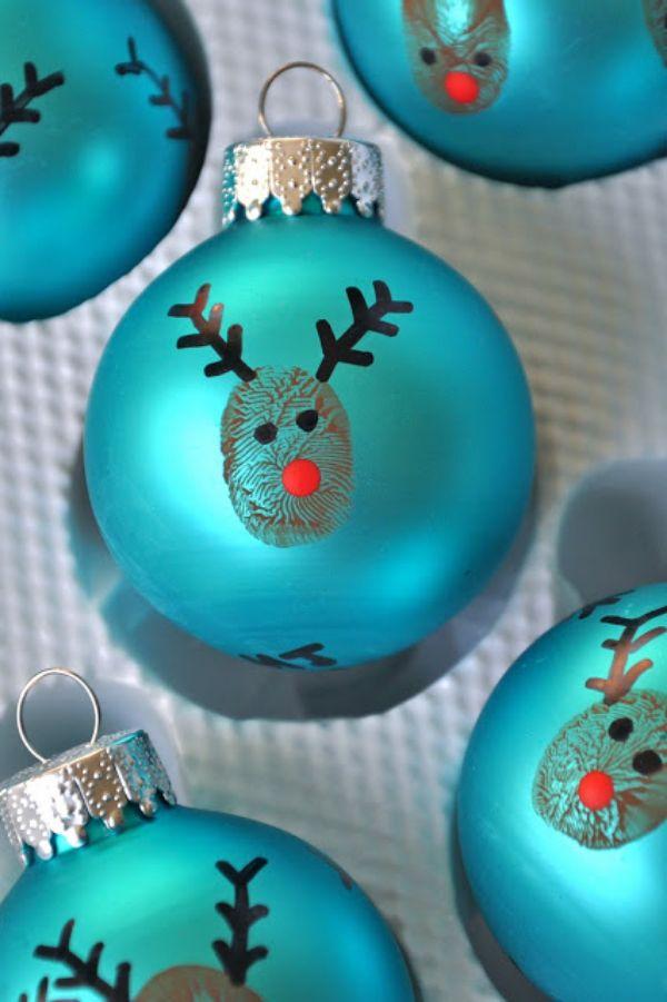 Thumb print reindeer 0rnament
