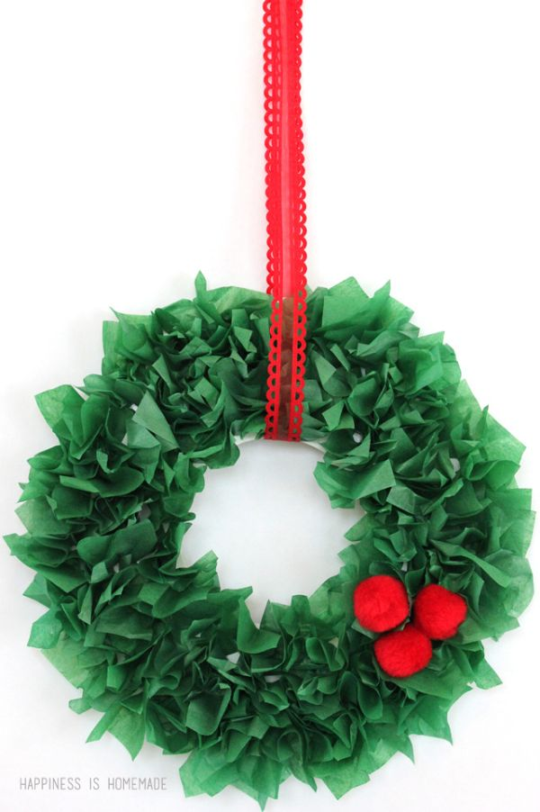 DIY Christmas Crafts for Kids Wreath with a red ribbon