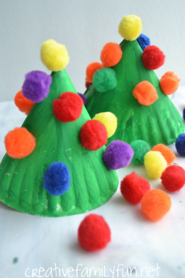 DIY Christmas Crafts for Kids Fluffy Christmas cones