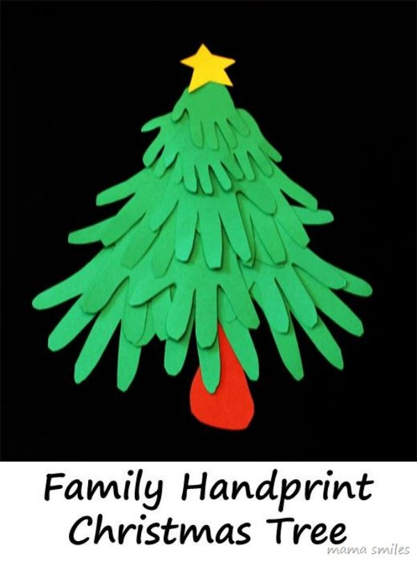 DIY Christmas Crafts for Kids A tree out of family handprints