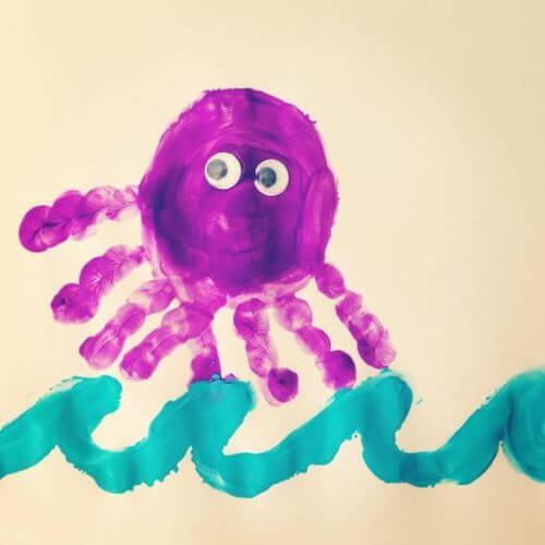 Thumb painting - Octopus Craft Idea