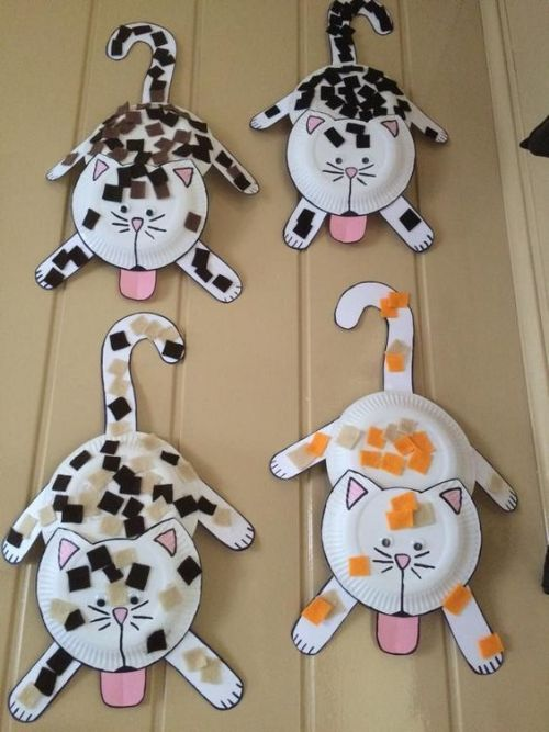 Collage Paper Plate Cat Craft