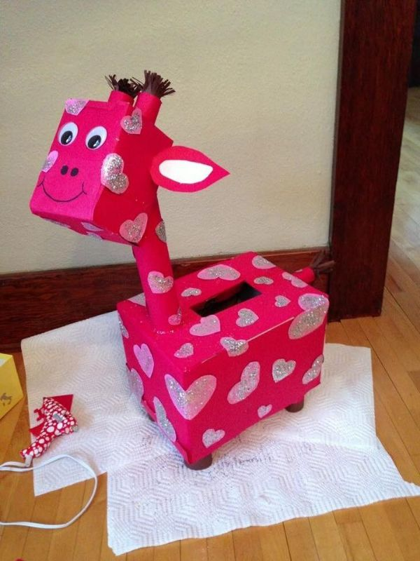 Creative Cardboard Box Crafts For Kids Little Pink Spotted Long-Necked Friend
