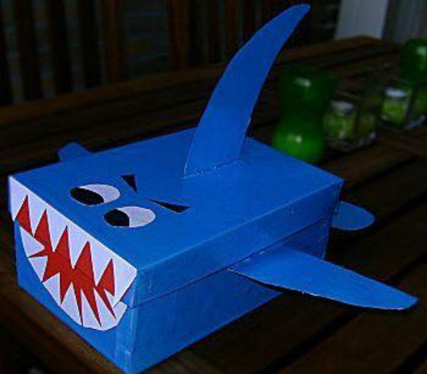 Creative Cardboard Box Crafts For Kids Here Comes a Shark!
