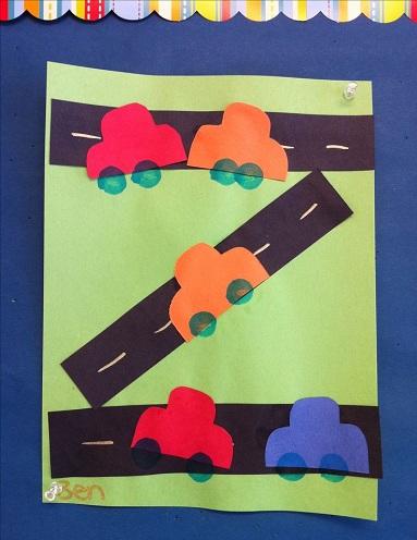 Road transportation illustration through crafts