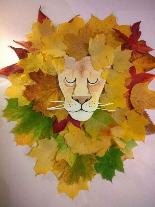 The king of the jungle - Easiest Fall Leaf Craft Ideas for kids