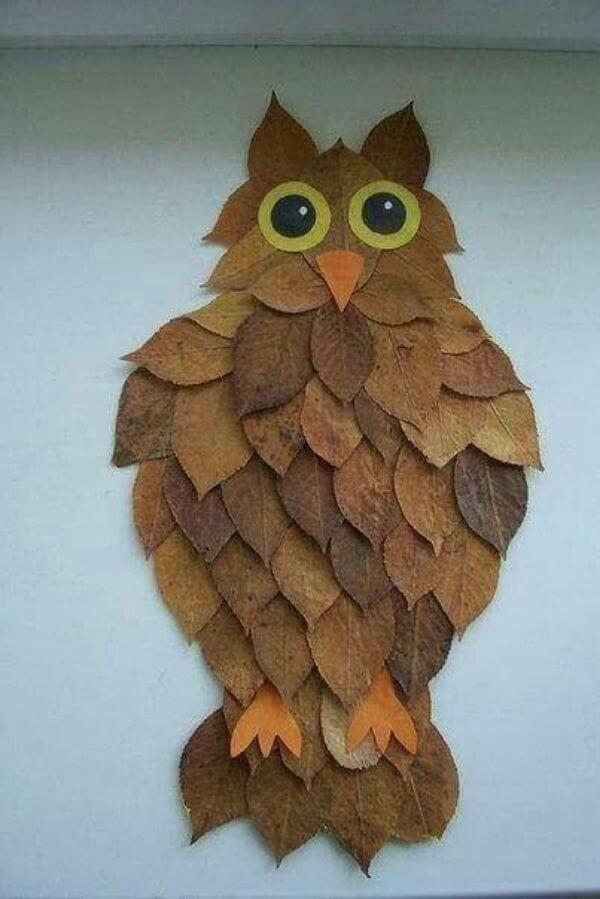 Mr.Leaf Owl - Easiest Fall Leaf Craft Ideas for kids