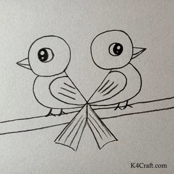 Love Is In The Air Like Birds - Easy Pencil Drawings for Kids