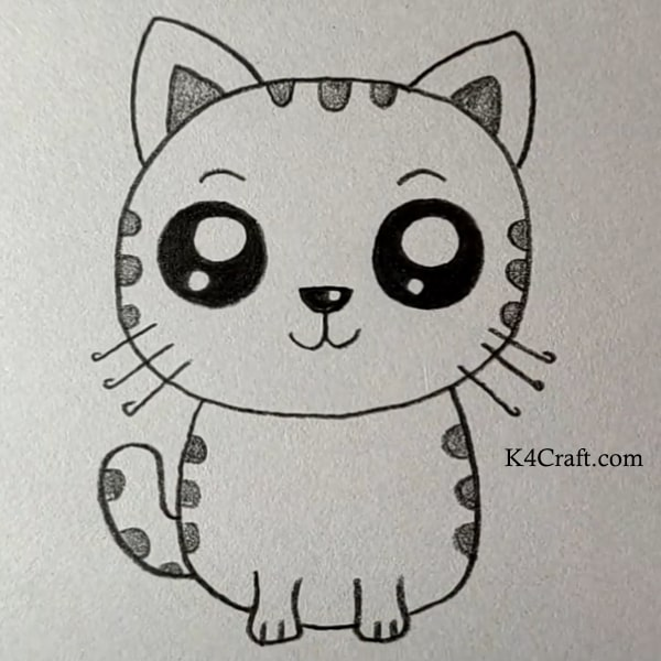 Cute Kitty drawing for kids - Easy Pencil Drawings for Kids