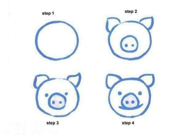 Easy drawing for kids to build their drawing skills The simple pig face