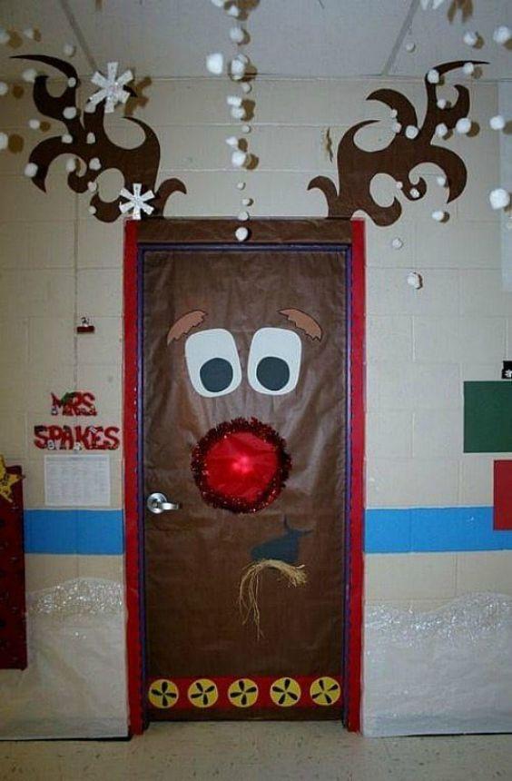Christmas Classroom Door Decoration Ideas A Reindeer Door For Christmas Celebration