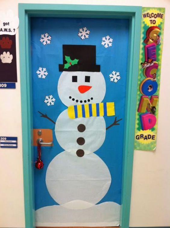 A Snowman Door For Christmas