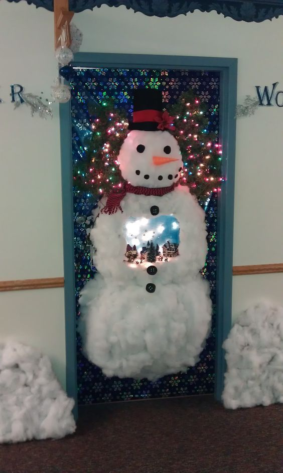 Using Cottonballs For Making A Realistic Snowman on Door