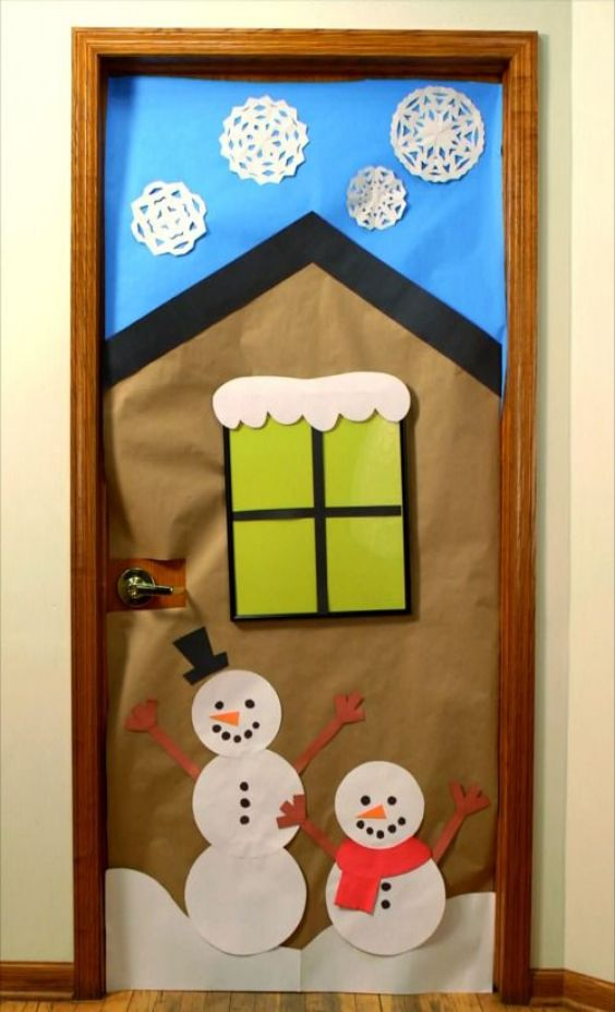 Crafting A Pair Of Snowman And A House on Door