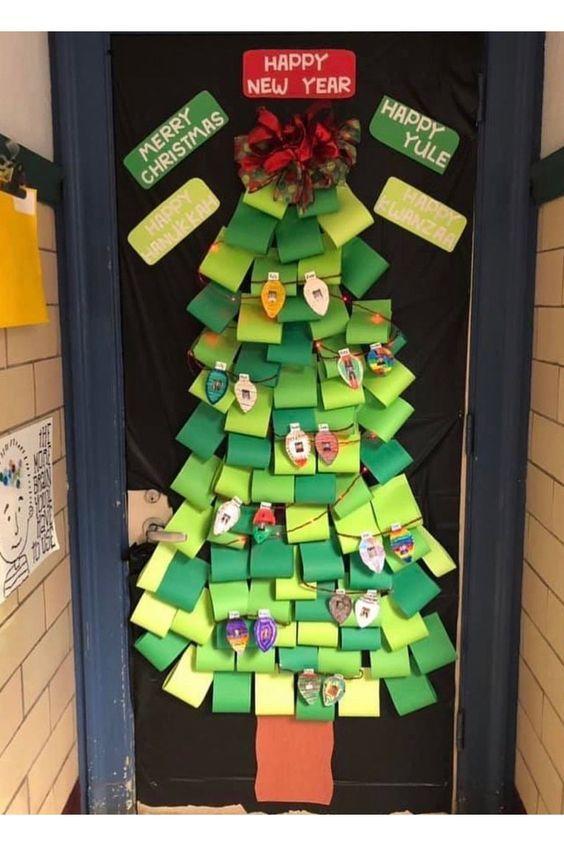 Christmas Classroom Door Decoration Ideas Fun Christmas Tree For Door Decoration Using Colourful Papers