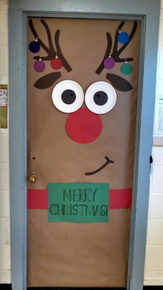 Christmas Classroom Door Decoration Ideas A Reindeer Door For Christmas
