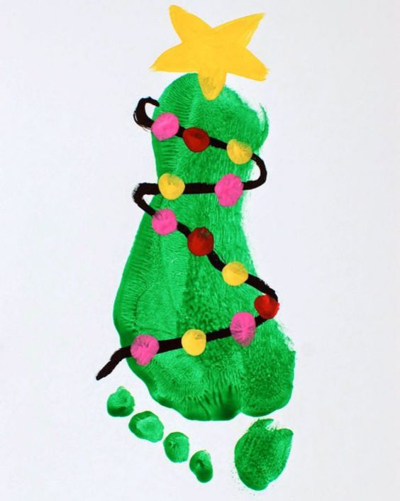 Footprint Fun: Christmas Crafts for Kids Footprint Christmas Tree