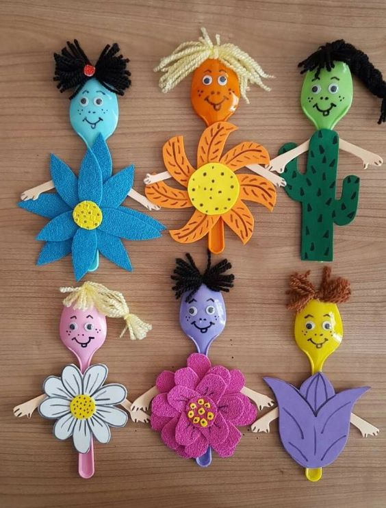 Creative and Amazing Plastic Spoon Craft Ideas Colorful Plants on Plastic Spoons