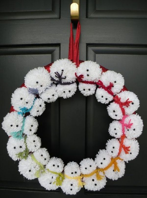 Welcome The Yuletide Spirit- DIY Christmas Wreath Ideas Snow Man Christmas Wreath