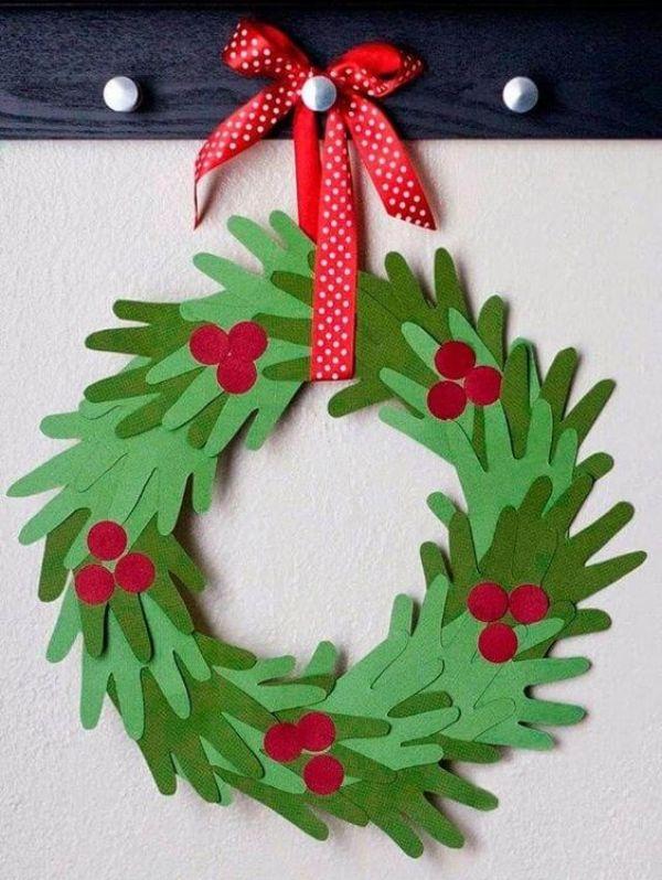 DIY Christmas Wreath Ideas for Kids Hand Print Wreath DIY Christmas Wreath Ideas for Kids