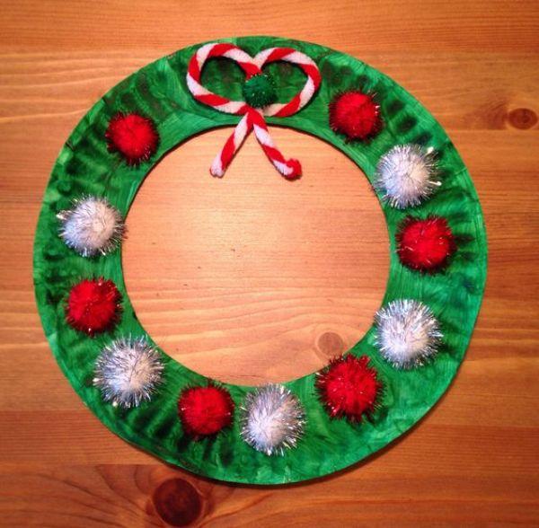 DIY Christmas Wreath Ideas for Kids Pom Pom Plate