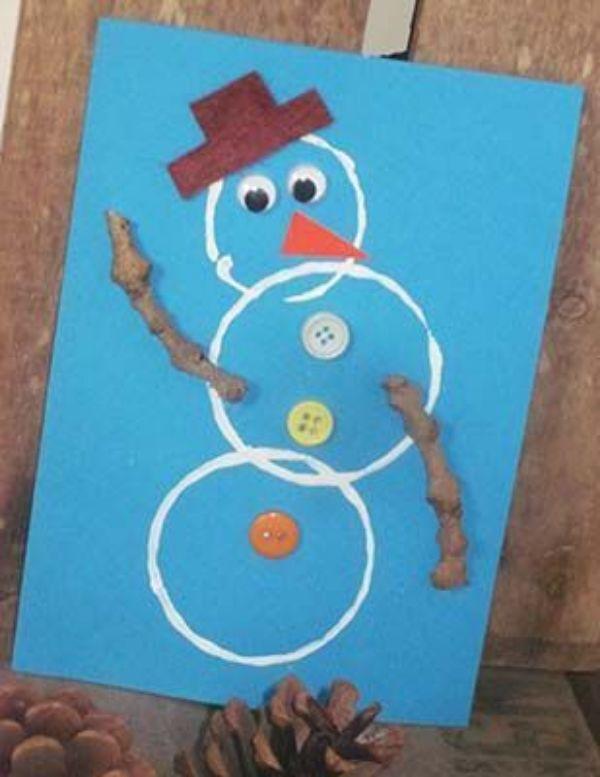 Christmas Snowman Ideas-Easy Snowman Crafts for Kids Circle Snowman Card
