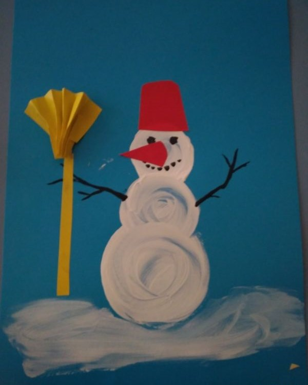 Christmas Snowman Ideas-Easy Snowman Crafts for Kids Finger Painting Snowman Card
