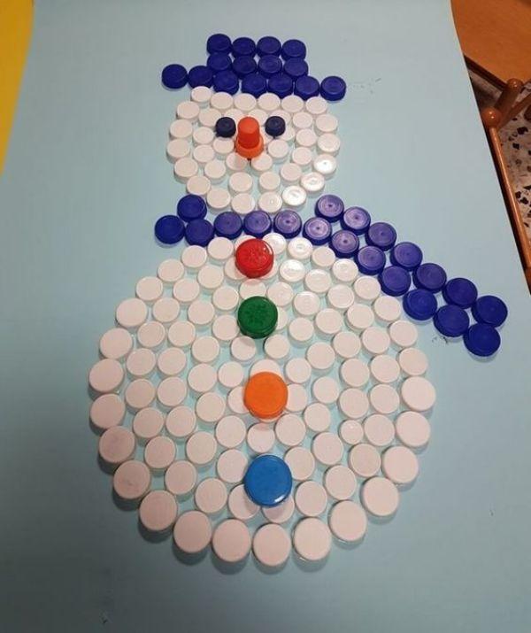 Christmas Snowman Ideas-Easy Snowman Crafts for Kids Bottle Cap Snowman Picture