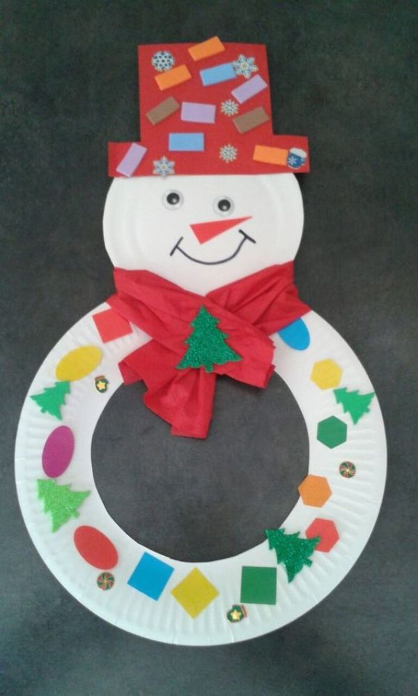 Paper Plate Snowman Wreath