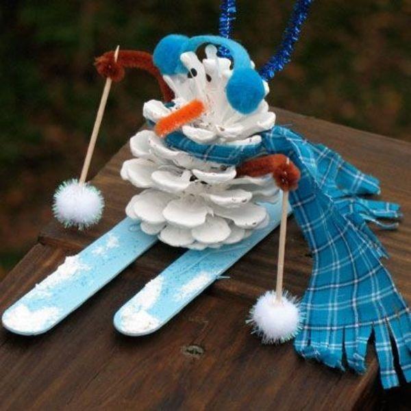 Christmas Snowman Ideas-Easy Snowman Crafts for Kids Pine Cone Snowman