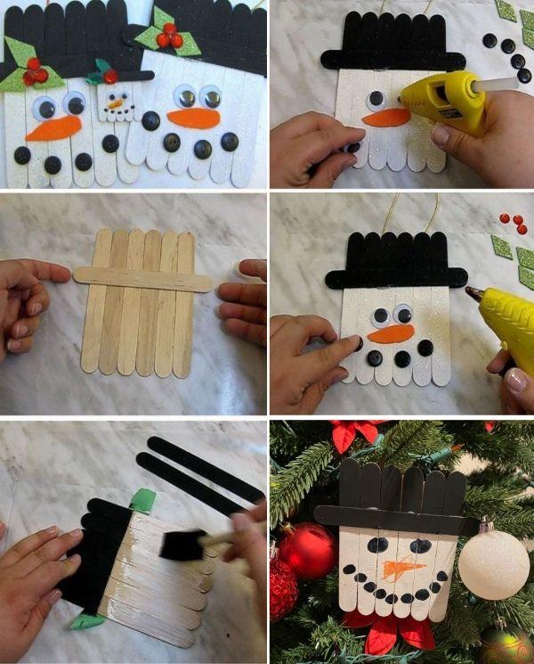 Ice Cream Stick Snowman