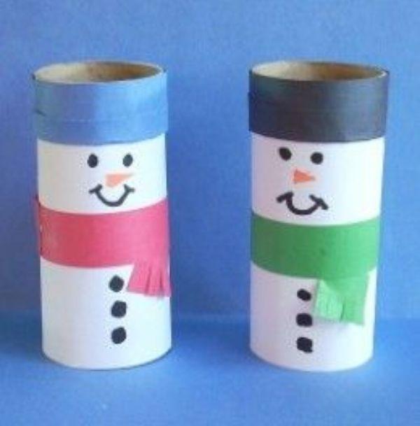 Christmas Snowman Ideas-Easy Snowman Crafts for Kids Pole Snowmen
