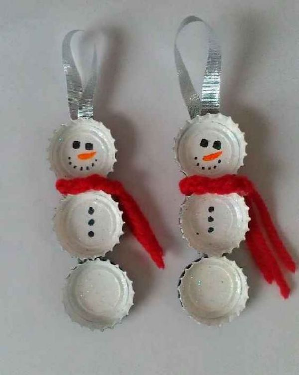 Christmas Snowman Ideas-Easy Snowman Crafts for Kids Bottle Cap Snowmen