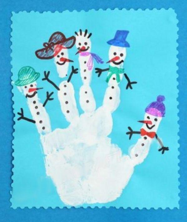 Christmas Snowman Ideas-Easy Snowman Crafts for Kids Snowman Hand Print Card